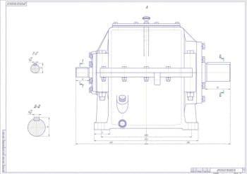 9.Сборочный чертеж редуктора цилиндрического двухступенчатого в разрезах А, Г-Г и Д-Д, с указанными размерами (формат А1)