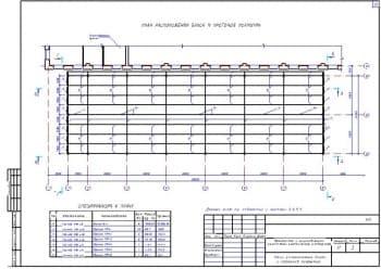 9.Чертеж плана расположения балок и прогонов покрытия со спецификацией к плану и с примечанием